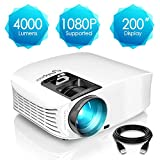 Projector, ELEPHAS 4000 Lumens HD Video Projector 200'' Home Cinema LCD Movie Projector Support 1080P HDMI VGA AV USB Ideal for Home Entertainment Party Games, White
