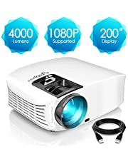 ELEPHAS Projector, 4000 Lumens HD Video Projector 200'' Home Cinema LCD Movie Projector Support 1080P HDMI Vga Av USB Ideal For Home Entertainment Party Games, White