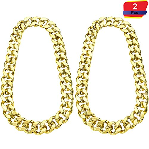 2 Pieces Hip Hop Gold Chain 32 Inch Big Chunky Chain for Men, Faux Gold Chain Necklace for Costume Jewelry Rapper Punk Style (Chunky Necklace 2 Pieces) ()