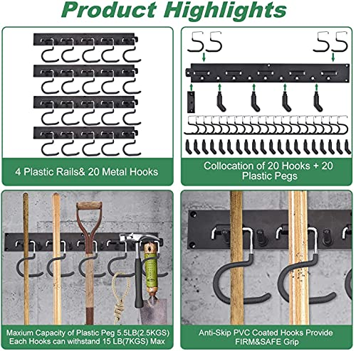 Garage Organization Tool Organizer, Adjustable Storage System 64 Inch, Wall Holders for Tools, Wall Mount Tool Organizer, Heavy Duty Tools Hanger with 4 Rails 16 Hooks