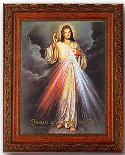 - Divine Mercy in a Fine Detailed Ornate Antiqued Mahogany Finished Frame in Spanish Under Glass