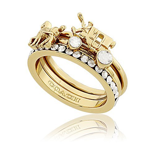 Coach Gold Pave Horse And Carriage Ladies Ring Set 90820 - Coach Ring