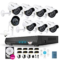 Surveillance Camera System 720P 8CH 750GB Security DVR and 8 1.5-Megapixel Indoor/Outdoor Security CCTV Cameras Kit Remote View Security DVR System