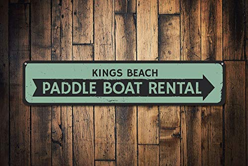 HarrodxBOX Paddle Boat Rental Sign Personalized Beach Arrow Sign Custom Beach Location Shop Sign Beach House Decor Novelty Aluminum Metal Tin Sign Post Wall Decoration for Men
