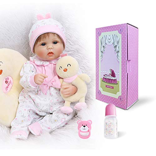 Pinky Handmade 42cm 17 Inch Lovely Realistic Reborn Baby Dolls Soft Silicone Babies Lifelike Newborn Baby Girl Doll Real Touch Cute Toddler Child Birthday And Xmas -