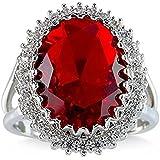 Women Fashion 925 Silver Red Ruby Gemstone Ring Bridal Wedding Jewelry New (9)