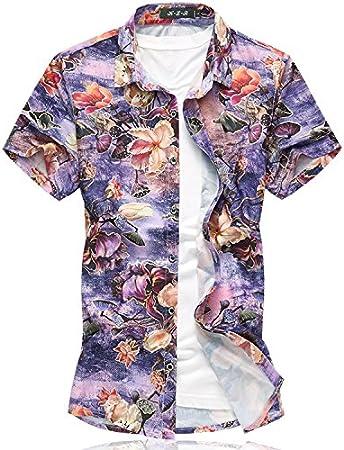LLS de hombre camisa de manga corta/Tiempo Libre Camisa Cuadros Para Hombre//Camisa Hombre Manga Corta Camisa Camisas/bordados Slim-Fit Forma lässiges Hombre Flor de impresión, morado, 5XL: Amazon.es: Deportes y aire libre
