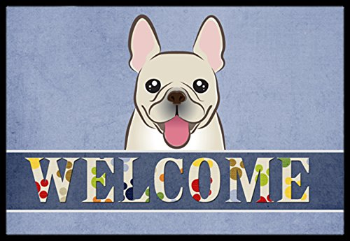 Caroline's Treasures BB1424MAT French Bulldog Welcome Indoor or Outdoor Mat, 18 x 27
