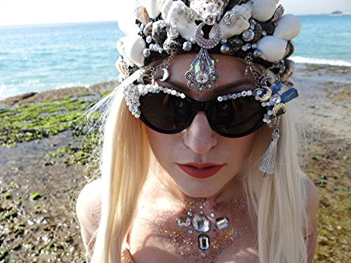 Dark Moon Sunglasses, By: Star Stuff Boutique, Decorated Sunnies, Black and Silver Shades, Jeweled Eyewear, Burningman Sunglasses, Rave, Rave Outfit, Rave - Outfit Sunglasses