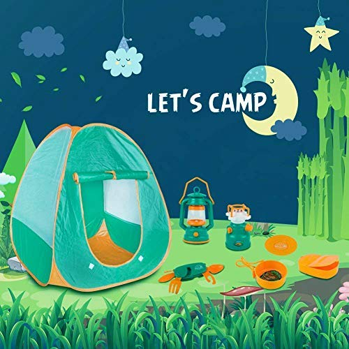MoonCastle Kids Tent Camping Set with Role Play Tent Pop Up Tent with Camping Lanterns Camping Gear Toy Tools for Kids 7Pcs