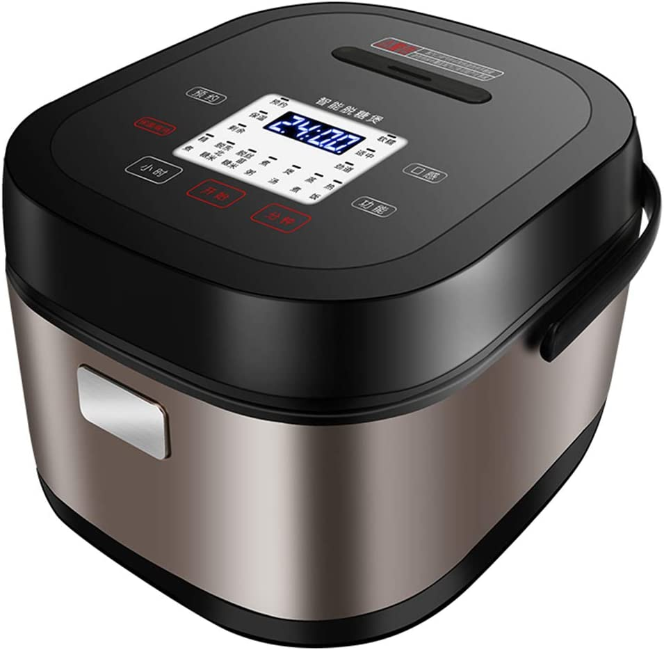 TQMB Rice Cooker Food Steamer Multi Programmable Digital 5L Low Removal Sugar Stewpot Intelligent Grain Maker Health Stainless Steel Instant Keep Warm with Steam & Rinse Basket