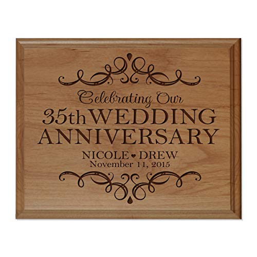 LifeSong Milestones Personalized Name and Date 35th Anniversary Plaque 35 Years of Marriage - Thirty Five Year Wedding Keepsake Gift for Parents Husband Wife him her 8x10 (Alder Wood)
