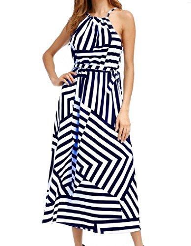Donne Strisce Blu Pendolo Comodo Grande Vestito Maxi Casuale Larghi Moda Cami pqAIqr
