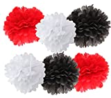 12pcs White Black Red Mixed Color Tissue Paper Pom Poms Tissue Pom Pom Paper Flower Ball Decoration Tissue Ball Paper Decoration for Ladybug Birthday Party Nursery Decor Party Favors Birthday Garland