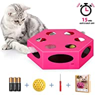 YUEJING Interactive Cat Toy Timer, Cat Toys with Rotating Worm Teaser, Kitten Toy Automatic, Electric Cat Toy Low Noise Stimulate Hunting Instincts and Sense