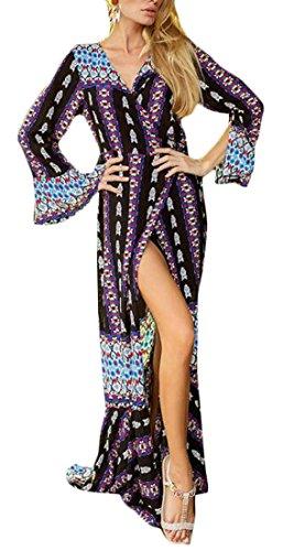 Flare Maxi Sleeve Beach Cromoncent Slit Print Dress Neck Blue Bohemia V Womens tqzwA8BF