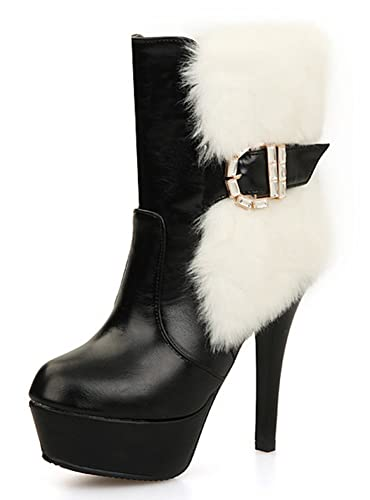 f4830941792c IDIFU Women s Sexy Buckle Faux Fur Stiletto High Heels Platform Side Zip up  Ankle Boots Black
