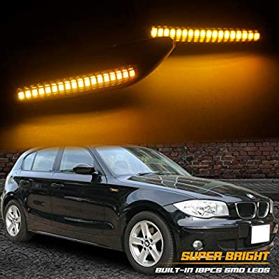RUXIFEY LED Side Marker Turn Signal Lights Compatible with BMW E90 E91 E92 E93 E46 E53 X3 E83 X 1 E84 E81 E82 E87 E88, Smoked Lens, Pack of 2: Automotive
