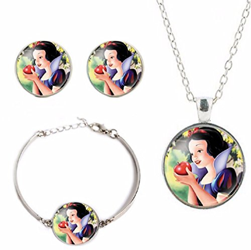 Disney's Princesses Glass Domed Pendant Necklace, Earring, Braclet Jewelry Set (Snow White)