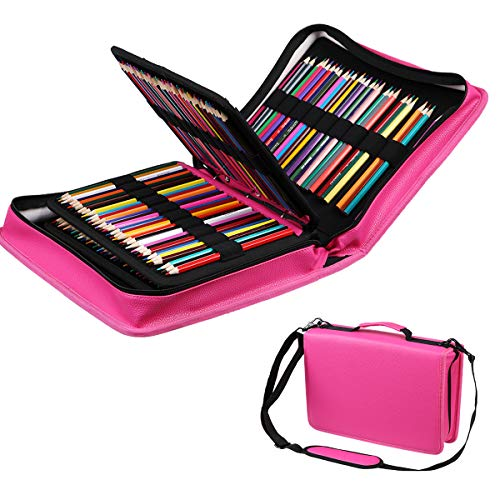 - JAKAGO 210 Slots Pencil Case PU Leather Pencil Holder Sleeve Pen Bag with Adjustable Removable Strap Snap Hook for Watercolor Pencils, Colored Pencils, Gel Pens, Cosmetic Brush,Eraser (Rose red)