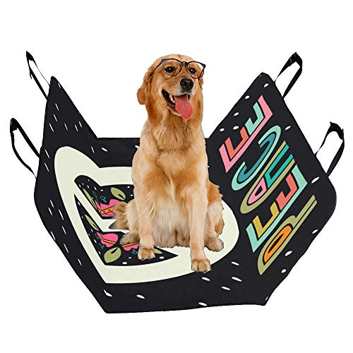 VNASKL Dog Seat Cover Custom Peace Sign Hand Lettering Flowers Decoration Printing Car Seat Covers for Dogs 100% Waterproof Nonslip Durable Soft Pet Car Seat Dog Car Hammock for Cars Trucks SUV