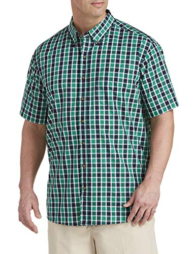 Harbor Bay by DXL Big and Tall Easy-Care Medium Plaid Sport Shirt Green ()