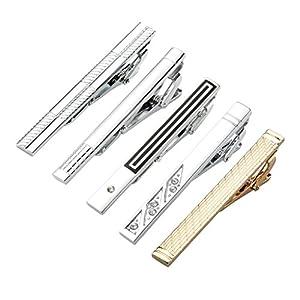 JOVIVI 5pcs Set Stainless Steel Exquisite GQ Classic Tie Bar Clip,Unique Designs