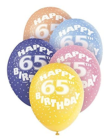 Amazon 12 Pearlised Latex Assorted Happy 65th Birthday Balloons