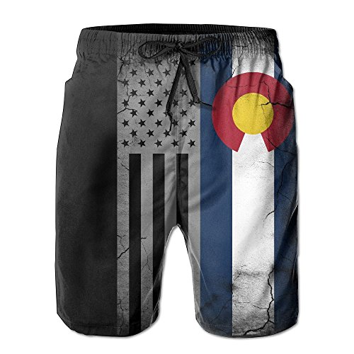 jauefvbncla Men's American Colorado State Flag Quick Dry Summer Beach Surfing Board Shorts Swim Trunks Cargo Shorts