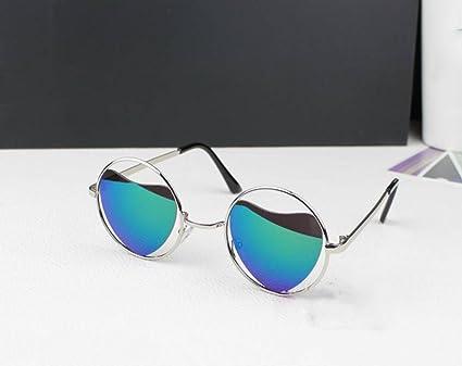 LYM&&Gafas de protecciónn Gafas de sol con montura metálica Forma de corazón Gafas de sol