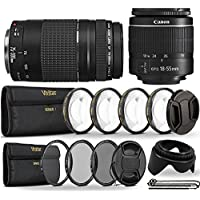 Canon EF-S 18-55mm III f/3.5-5.6 Camera Lens with EF 75-300mm Lens + UV CPL ND8 Filters, + 1 +2 + 4 + 10 Macro Lens and More Accessories for Canon Digital SLR Cameras