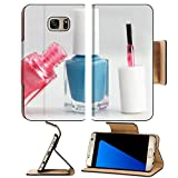 Luxlady Premium Samsung Galaxy S7 EDGE Flip Pu Leather Wallet Case IMAGE ID 31768621 Colorful nail polish white background pink and blue style