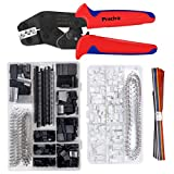 Crimping Tool Kit, Preciva Dupont Ratcheting Crimper Plier Set with 1550PCS 2.54mm Dupont Connectors and 460pcs 2.54mm JST-XH Connectors for AWG 26-18(0.1-1mm²)