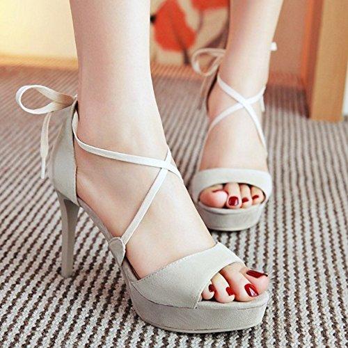 COOLCEPT Women Fashion Criss Cross Sandals Stiletto Peep Toe Platform Shoes Beige bPQARkRld4