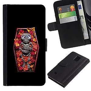 A-type (Ataúd del vampiro floral primavera Esqueleto) Colorida Impresión Funda Cuero Monedero Caja Bolsa Cubierta Caja Piel Card Slots Para Samsung Galaxy Note 4 IV