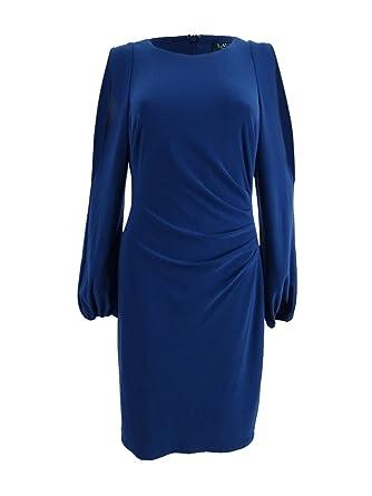 b23620924e3 Lauren by Ralph Lauren Women s Jersey Cold-Shoulder Sheath Dress (16 ...
