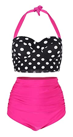 df8033c2f2 Amazon.com: SHENGFAN Womens Vintage Underwire High Waisted Swimsuit Two-Piece  Bathing Suits Polka Dot Bikini: Clothing