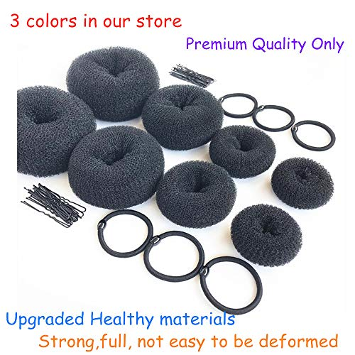 ZZRRYY Hair Bun Makers, Hair Styling Accessories Kit with 6 Bands & 36 Bobby Pins & 8 Buns for Chignon Hair Styles (2 Small, 2 Medium, 2 Large, 2 Extra-large) Hair Bun Maker Black