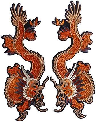 1 par de parches de dragón verde para planchar sobre pegatinas de bordado de tela parches de ropa decorado para manualidades suministros de costura (naranja): Amazon.es: Hogar