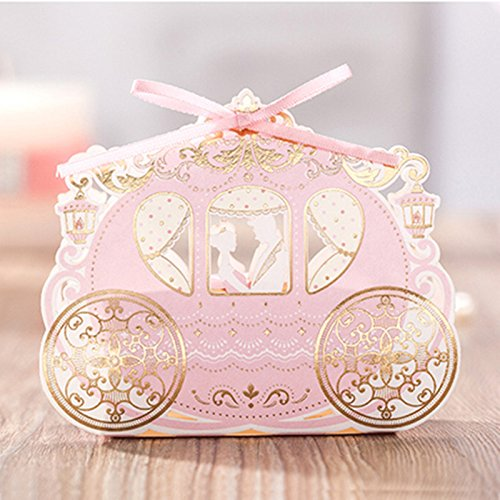 Saasiiyo 10 Pieces Paper Candy Boxes Wedding Favor Box Wedding Box Party Supplies Gift Box With Ribbon Wedding Souvenir (Santa Costumes For Rent)