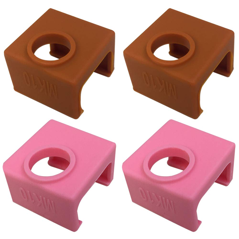 4 Pcs 3D Printer Socks Compatible MK10 Wanhao Duplicator D4/I3/Dremel i3 Makerbot Heater Block, AFUNTA High Temperature Resistance Silicone Protection Case for 3D Printer Extruder – 2 Coffee & 2 Pink AF-2p2c-MK9-cover