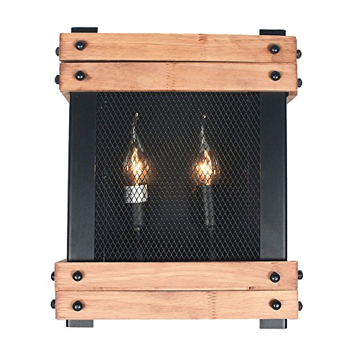 Baiwaiz Rustic Wall Sconce, Wood Farmhouse Sconces Wall Lighting 2-Light Edison E12 BW17025 by Baiwaiz