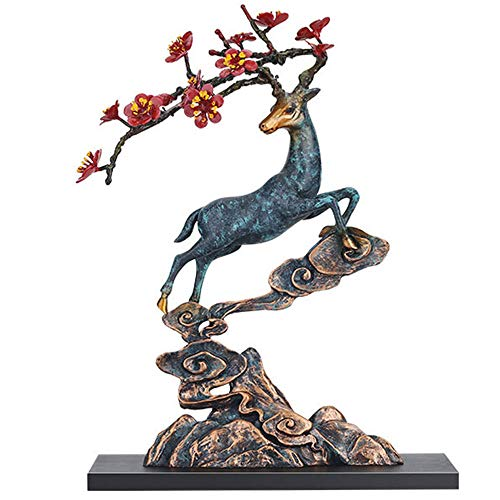 Handicraft Creative Abstract Metal Cast Brass Animal Deer Statue Collectable Table Decor Sika Buck Sculpture for Living Room Home Decorations and Office Business Gift Elk Stag Figurine (deer statue 1) ()