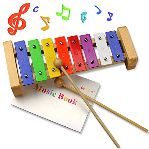 Xylophone Musical Toy, BonyTek Eight Notes Clear Tones Wooden Percussion Xylophone Glockenspiel for Kids Toddlers Baby with Colorful Bright Metal Keys and Two Child-Safe Wood Mallets & Music Book