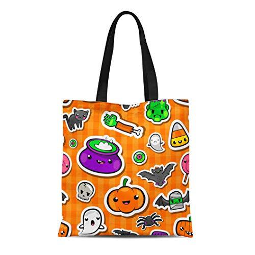 Semtomn Canvas Tote Bag Shoulder Bags Bright Black