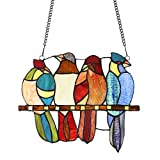 MELUCEE Stained Glass Window Panel Birds 11.8 Inches Wide with 33 Inches Chain
