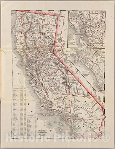 Historic Map | Map of California, 1892 | Vintage Wall Art | 34in x 44in