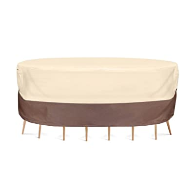 Pyle Patio Table Chair Cover - Armor Shield Lawn Veranda Porch Deck Ottoman Wicker Furniture Cover with Air Vent - Fits Rectangle/Oval Table w/ 6 Seat 78''Lx58''Wx23''H - PVCTBLCH40 (Small) : Garden & Outdoor