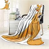 Luxury Collection Ultra Soft Plush Fleece Lightweight Mother Kangaroo with her Baby All-Season Throw/Bed Blanket(90''x 70'')