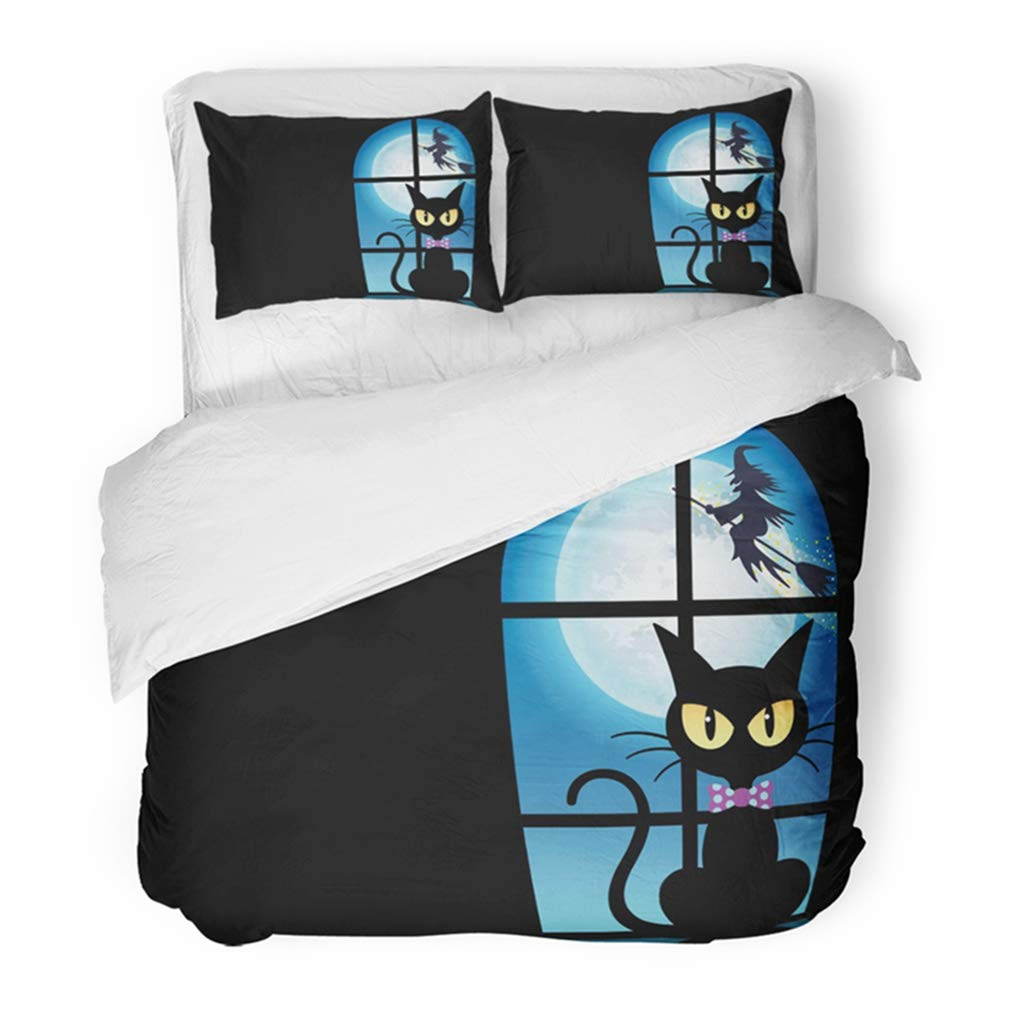 Emvency Bedding Duvet Cover Set Twin (1 Duvet Cover + 1 Pillowcase) Witch Happy Halloween with Black Cat by The Window Moonlight Silhouette Spooky Bad Hotel Quality Wrinkle and Stain Resistant